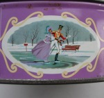 The Quality Street Soldier & Lady skate on a frozen lake