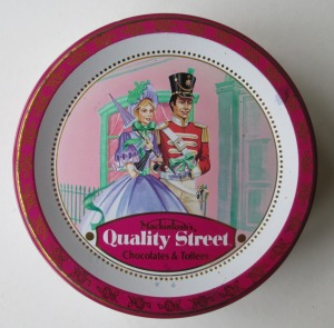 A classic French Quality Street Soldier & Lady street scene